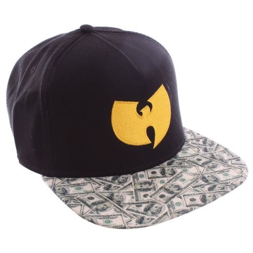 9f8687c13e93f A stylish two-tone hat features a colorful Wu-Tang logo and a  100 bill  print that makes it easy to coordinate with all of your favorite tees and  hoodies.